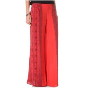 Anthro - Free People Red Wide Leg Pants S Small